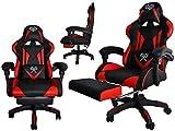 MALATEC Gaming Stuhl Bürostuhl Schreibtischstuhl mit Fußstützen Kissen...
