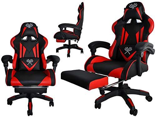MALATEC Gaming Stuhl Bürostuhl Schreibtischstuhl mit Fußstützen Kissen Ergonomisch Schwarz-blau/rot/orange 8978, Farbe:Schwarz-Rot