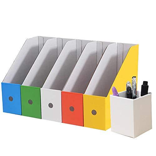 Lot de 5 Porte-revues Boîte en Carton Pré-pliée avec Autocollant Boîte de Stockage pour Ecole Bureau Logement Boîte de Rangement pour Livre Cahier Document Facile à Assembler Ranger (Multicolore)