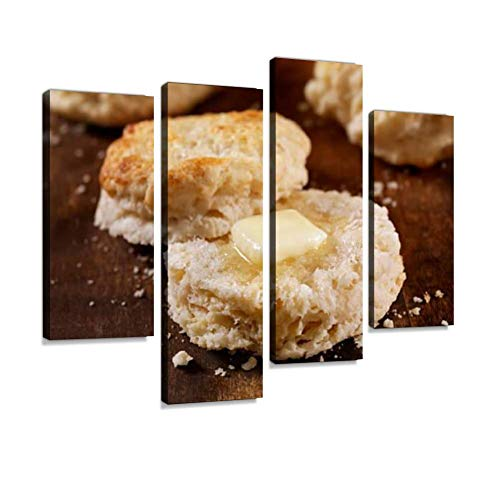 YKing1 Homemade Buttermilk Biscuits Baked Bread Stock Pictures, Royalty Wall Art Painting Pictures Print On Canvas Stretched & Framed Artworks Modern Hanging Posters Home Decor 4PANEL