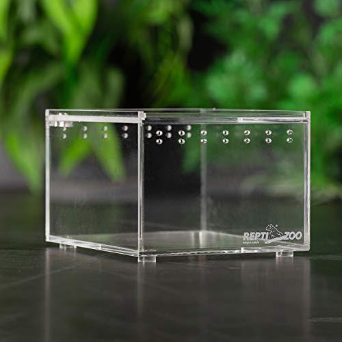 REPTI ZOO Magnetic Acrylic Case 4.1'x3.3'x2.5' Nano Enclosure Reptile Breeding Box Terrarium Cage Tank Tarantula Scorpion Sling Isopods Lizards Roach Invertebrates Insect Mantis