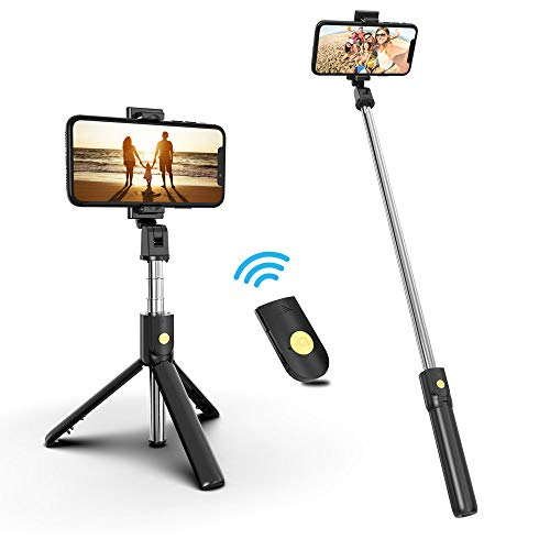 Selfie Stick Phone Tripod, 27.5 Inch Extendable Selfie Stick Tripod Stand with Wireless Remote Compatible with iPhone 12/12PRO/11/XS/XR/X/8P/7P, Galaxy Note10/S20/S10/S9/Google/Huawei,More
