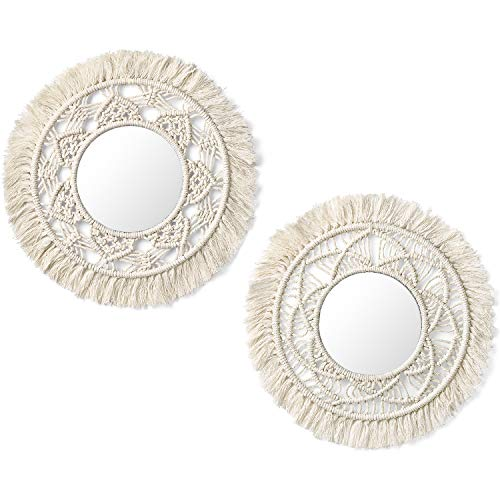 Mkono Hanging Wall Mirror with Macrame Fringe 2 Set Small Round Decoration Boho Antique Mirror for Apartment LivingRoom Bedroom Baby Nursery,Beautiful Gift Ideas