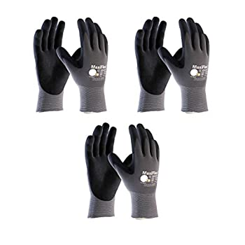 3 Pack 34-874 3XL MaxiFlex Ultimate Nitrile Grip Work Gloves Size XXX-Large  3Pair Pack