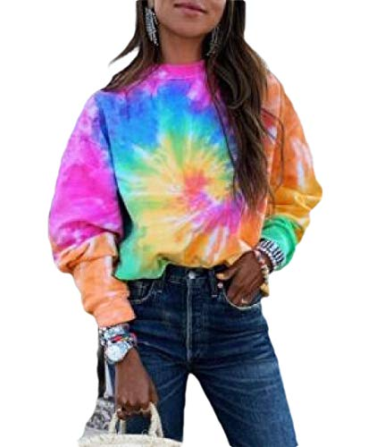 H&E Damen Sport Pullover, langärmelig, Batik, lose Sweatshirts Gr. M, farbig