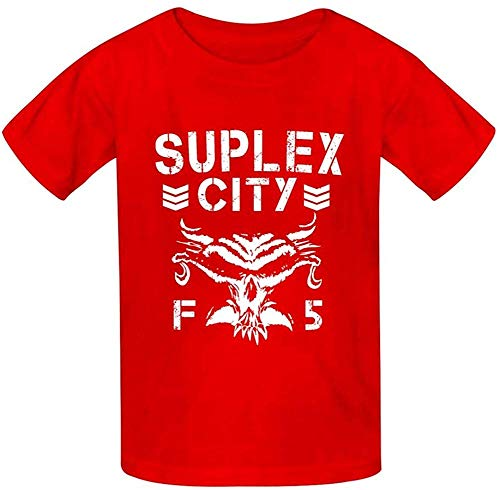 Suplex City Brock-Lesnar Kids Tee Short Sleeve Round Neck Boys Girls 100% Polyester T-Shirt-Red-X-Small