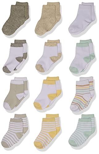 Hudson Baby Baby Cotton Rich Newborn and Terry Socks, Neutral Stripe, 6-12 Months