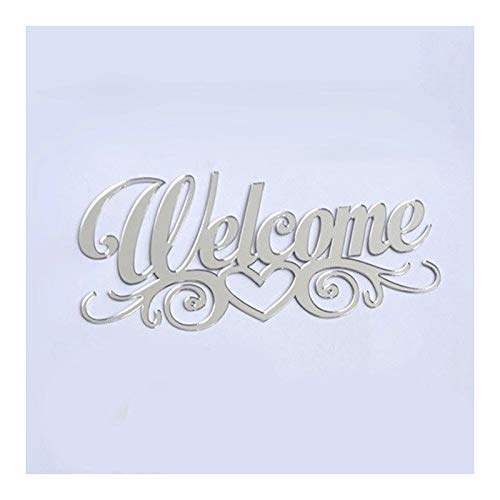 Welkom Teken Met Hart Style, Familie Naambordjes Acryl Spiegelwand Sticker Design Met Zelfklevende Glue Decor Van Het Huis (Color : Silver, Size : 25cm)