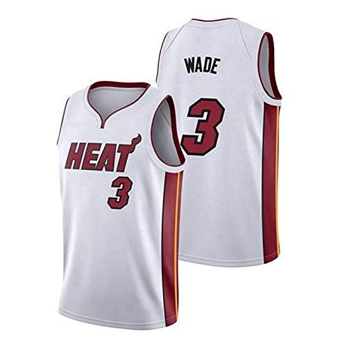 男性3#バスケットボールユニフォーム、Dwyane Tyrone Wadeバスケットボールジャージ、手刺繍メッシュ通気性ノースリーブTシャツ (Color : A, Size :