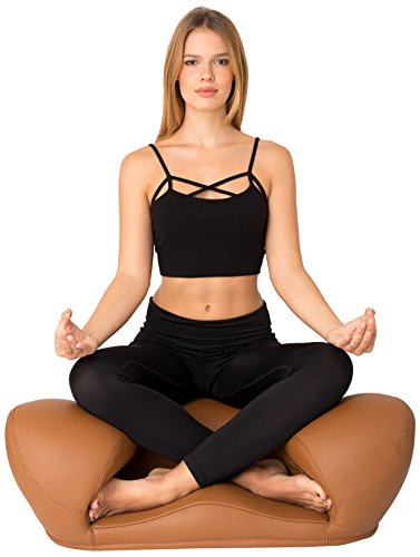 Alexia Meditation Seat Ergonimically Correct for The Human Physiology Zen Yoga Ergonomic Chairs Foam Cushion Home or Office (Brown - Vegan Leather)