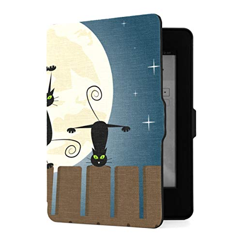 Funda Kindle Paperwhite 1 2 3,Black Cats Doing Yoga On Fence Funda de Piel sintética con Smart Auto Wake Sleep para Amazon Kindle Paperwhite (se Adapta a Las Versiones 2012, 2013, 2015)