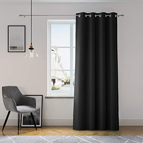 AmeliaHome Vorhang 140x250 cm Fensterdekoration Ösenschal Dekoschal Dekorvorhang Oxford Solid Schwarz