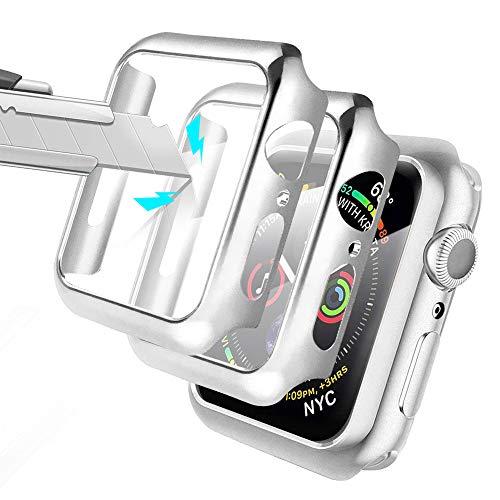 Alinsea [2 Stück] für Apple Watch Series 6/SE/5/4 40mm Hülle mit Panzerglas Bildschirmschutz für iWatch schutzfolie [Wasserdicht] [Blasenfreie] 360°R&um Schutzhülle Hülle für Apple Watch 40mm - Silber