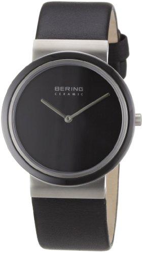 Bering Ceramic - Reloj analógico de caballero de cuarzo con correa de piel negra - sumergible a 50 metros