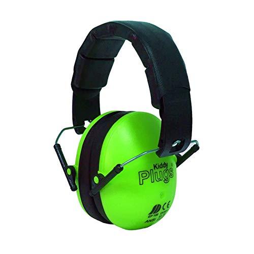 KiddyPlugs Kinder Kapsel Gehörschutz Ohrenschützer GRÜN, Lärmschutzkopfhörer Erwachsene, Faltbare Kopfhörer einstellbar auf Kopfgröße, hoher Komfort, für Garten, Arbeit, Rasenmähen, Schule UVM.