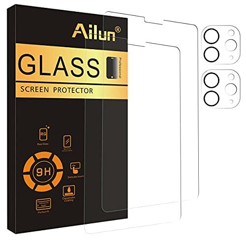 Ailun - Juego de 2 protectores de pantalla para iPad Pro 2020 y 2021 (12,9 pulgadas) + 2 protectores de lente de cámara, vidrio templado antiarañazos, compatible con funda