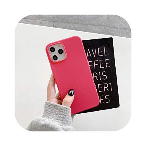 Carcasa de silicona mate para iPhone 12 Pro Max para iPhone 12 11 Pro XR 7 8 Plus XR XS X SE 2020, color rosa