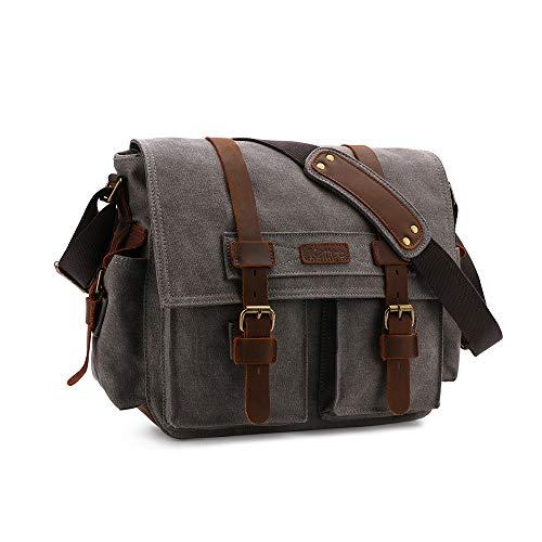 Leather Canvas Messenger Shoulder Bag
