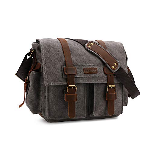 Kattee Leather Canvas Camera Bag Vintage DSLR SLR Messenger Shoulder Bag Dark Gray