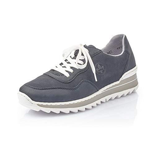 Rieker Damen Schnürhalbschuhe M6912, Frauen sportlicher Schnürer, Halbschuh schnürschuh strassenschuh Sneaker,Pazifik/Pazifik / 14,36 EU / 3,5 UK