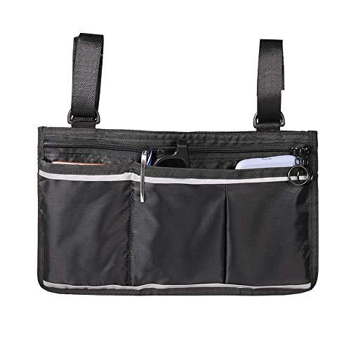 Rolstoel zijtas, multifunctionele hangende armleuningtas, past op rollators, rollators voor senioren en gehandicapten, opbergvak aan zijkant, walker bag