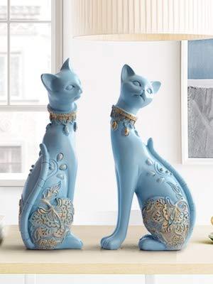 ZSMLB Figurine Cat Decorative Statues Modern Resin Statue for Home Decorations European Creative Wedding Gift Animal Figurine Home Decor Sculpture
