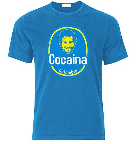 T-Shirt inspiriert von Pablo Escobar Plata o Plomo Colombia Kartel cocaina t Shirt T-Shirt (XXL, Azure BLAU)