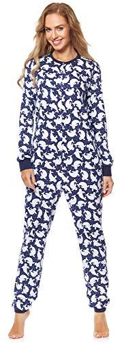 Merry Style Damen Schlafanzug Strampelanzug Schlafoverall MS10-187 (Dunkelblau Punkte, M)