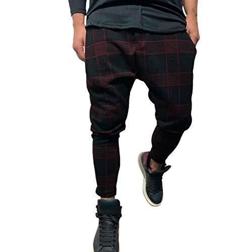 Inawayls Herren Cargo Hose Outdoor Stoffhose Classic Kariertes Cargohose Trousers Pant Freizeithose