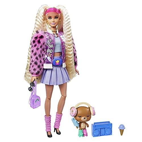 Barbie Extra Muñeca rubia articulada con coletas altas, accesorios de moda y mascota...