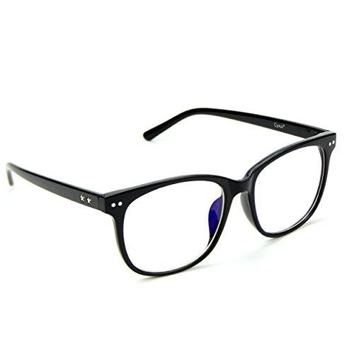 Cyxus(シクサズ) 青色光をカット[透明レンズ ] uvカット 目の疲れを緩和する 携帯電話パソコン用メガネ 軽量 復古 ファッション 男女兼用