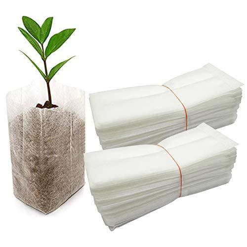 Hongyans 100 Piezas Bolsas de Cultivo de Plantas No Tejida Bolsa de Cultivo de Tela Biodegradables Bolsas de Plántulas Macetas de Tela No Tejida para Casa Jardín Invernadero (15x16 cm)