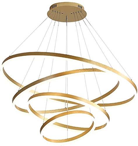 Chandelier Goldene Rund LED Kronleuchter, 84w 6300-7100lm Acryl Pendelleuchte 3 Ringe Acryl Kronleuchter Einstellbare Höhe Circular Deckenleuchte for Flur Esszimmer Schlafzimmer