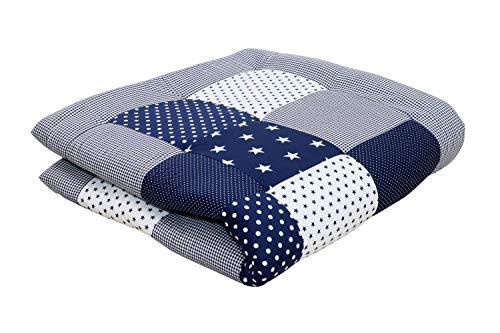 ULLENBOOM ® Baby Krabbeldecke 120x120 cm gepolstert Blaue Sterne (Made in EU) - Krabbeldecke für Baby mit 100% ÖkoTex Baumwolle, ideal als Babydecke & Spieldecke