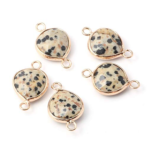 K-ONE 5Pcs Natural Stone Pendant Water Drop Shape Agated Golden Plated Pendant for Jewelry Making Necklace Accessorie Gift for Women
