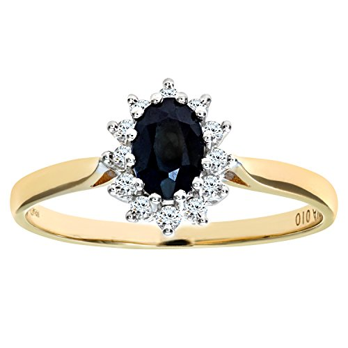 Naava 9 ct Yellow Gold Diamond and Sapphire Cluster Women's Ring ,K