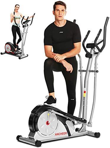 ANCHEER Macchina Ellittica Fitness Machine Cyclette Ellittica con 8 Livelli di Resistenza/Display LCD/Porta Tablet/Maniglia per Test della frequenza cardiaca/Carico Massimo: 265Ibs (Grigio)