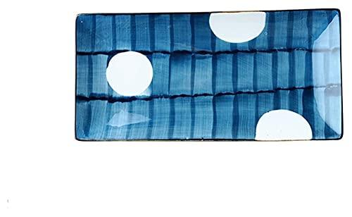 LBBZJM Cena Placas Sirviendo Placas Placas Rectangular Plato de Sushi Placa Japonesa Cena Creativa Placa de Postre Placa De Cerámica Retro Placa Pintado Mano Placa Placa Placas (Color : B)