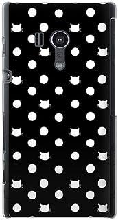 CaseMarket 【ポリカ型】 au Xperia acro HD IS12S ポリカーボネート素材 ハードケース [ ネコと水玉 - ブラック ]