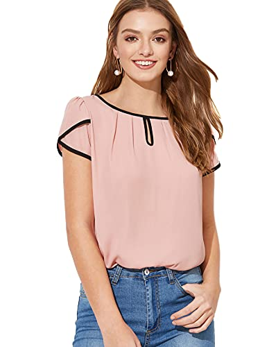 Milumia Women's Casual Pleated Petal Cap Sleeve Round Neck Keyhole Blouse Top Pink Large