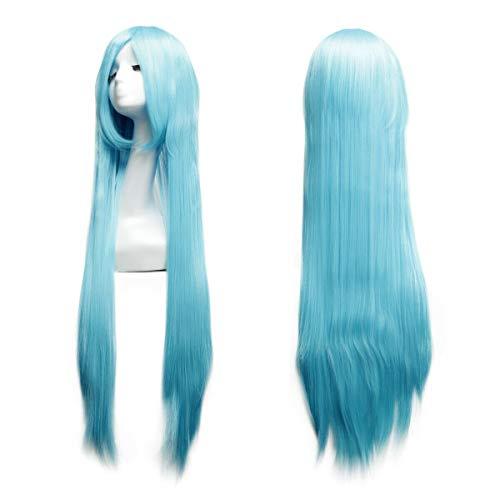 Logtronik 100cm Perruque Cosplay Longue et Raide Cheveux Naturels Idéal pour Soirée Déguisement Halloween Noël Mascarade Femme (bleu)