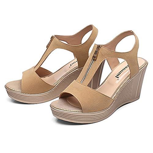 Frauen Sandalen mit Keilabsatz Lässige Plateauschuhe Knöchelriemen Muffins Sommer Open-Toe High Heels