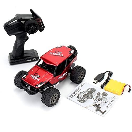 SFOOS Todo Terreno Alta Velocidad 1/18 Scale RC Truck Big Wheel Aleación Off-Road 2.4G Cargando Coche Escalada, Niños Navidad Control Remoto Toy Coche Regalo (Color : Rojo)