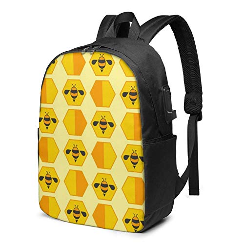 Travel Laptop Backpack, Cute Little Yellow Bee Travel Laptop Backpack College School Bag Casual Daypack with USB Charging Port