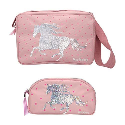 Top Model - Bolso bandolera y estuche, diseño de caballo de galop con lentejuelas reversibles, color rosa