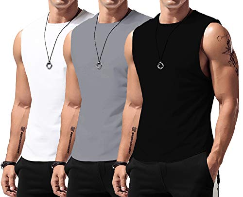 LecGee Men s Workout Tank Tops 3 Pack Sleeveless Shirts Gym Bodybuilding Muscle Tee Shirts