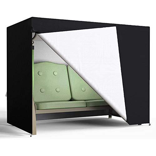 LEESITEC Garden Swing Cover, Waterproof Anti-UV Windproof Dustproof 3 Seater Hammock Cover, Heavy Duty Yard Park Canopy Swing Bench Chair Cover with Zip 220x125x170cm - Black