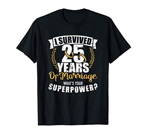 25 años de matrimonio superpoder 25 aniversario de boda Camiseta