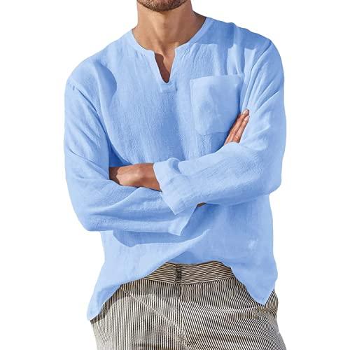 Camiseta de Manga Larga para Hombre Moda Color sólido Clásico Básico Casual Tendencia cómoda Camiseta con Cuello en V y Bolsillo L