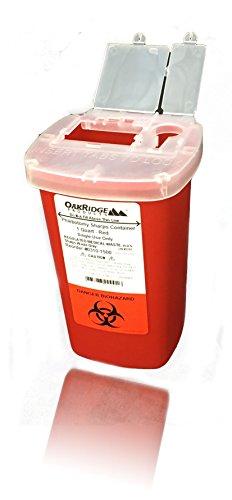 Oakridge Products 1 Quart size Sharps and Needle Container. Integrated needle unwinder